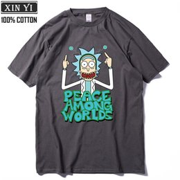 Men folk online shopping - Cool Rick Morty men t shirt Summer Anime T shirts rick and morty worlds folk black White Fitness Cartoon tee shirt homme