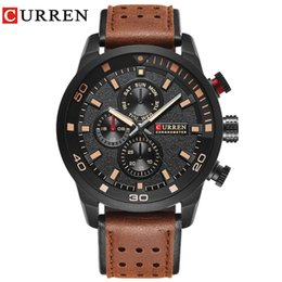 men watch leather curren UK - water resistant CURREN brand top new fashion casual quartz wrist watch men leather relojes strap round Quartz Water Resistant 8250