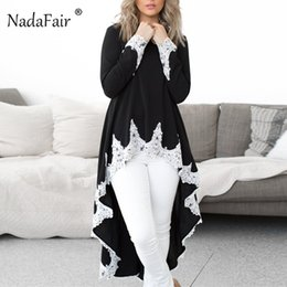 661611d7ded81b Nadafair Flouncing Lace Long Sleeve Asymmetrical Blouse Women Maxi Drop Hem  Elegant Loose Lace Shirts Autumn Plain Blusas Female