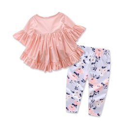 $enCountryForm.capitalKeyWord NZ - European and American New Style Cotton Short Sleeve T-shirt Top Pants Flower Clothing Set Toddler Kids Baby Girls Outfits Cloth