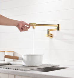 double spout kitchen faucet Australia - Free ship Wall Mounted Classic Traditional Solid Brass Pot Filler kitchen faucet tap , Double Joint Spout, gold pvd single cold water