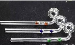 Double Curved Pipe NZ - Free double dotted Curved Oil Burners Pipes Glass Bongs with colorful Glass Water Pipe sgzgert