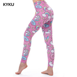 4d5428c8bc Kyku Brand Unicorn Leggings Women Leggins Fitness Legging Sexy Pants High  Waist Push Up Shiny 3d Printed Rainbow Star Cat Donuts