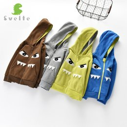 fleece lined tops Canada - SVELTE Children Boys' Funny Cartoon Pattern Fleece Hoody Jacket Hooded Outerwear Coat Park for 2-7 Y Kids Sporty Tops Clothing
