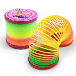 Discount magic spring slinky 2017 slinky Creative Magic Plastic Slinky Rainbow Spring Colorful Interesting Children Toys Gifts New Arrive Novelty Gam