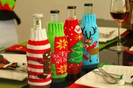 Discount gift bags dhl shipping - Chirstmas Decorations Kitche Beer Bottle Cover Bag Snowman Deer Knitting Home Party Accessories Crafts Gifts 4 Colors DH