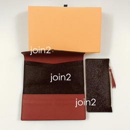 Wholesale JOSEPHINE WALLET Best Quality Women Fashion Long Wallet in Classic Brown Canvas Leather Removable Zipped Pocket for Coins Dust Bag and Box
