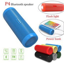 China 2018 P4 wireless bluetooth 4.2 ip6x sports speaker with LED flash light hd sound supply video TF card with build-in mic for outdoor sport suppliers