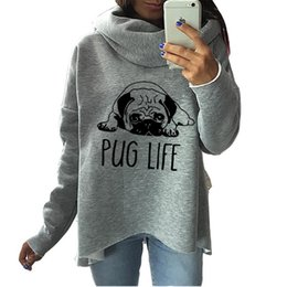 woman clothe dog 2019 - Cute Pug Dog Anime Christmas Clothes 2018 Women Winter Hoodies Scarf Collar Fashion Casual Autumn Sweatshirts Rough Pull