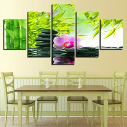 Art Canvas Prints Australia - Modular HD Poster Painting Wall Art Modern Canvas 5 Panel Bamboo Flower Living Room Home Decoration Pictures Printed Frame