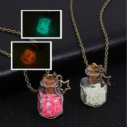 Flower pentagram online shopping - Drift Bottle Pendant Necklace Glow In Dark Rose Flower Party Summer Beach Jewelry Gifts Long Chain Pentagram Necklace Luminous Necklaces
