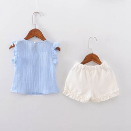 $enCountryForm.capitalKeyWord Australia - Summer Baby Girls Short Sleeve Blouse Tops + Casual Shorts Infant Two Pieces Suits Kids Clothing Set Conjunto Roupas De Clothing Sets