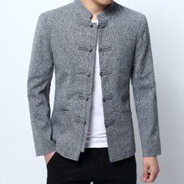 09e930bc9 2018 new fashion casual men's Tang suit solid color long-sleeved collar  button buckle Chinese style suit jacket