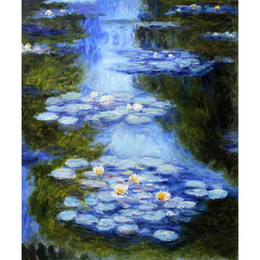 hand painted painting oil green NZ - Best oil paintings Water Lilies (blue-green) Claude Monet Hand painted Landscapes painting for room decor