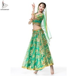 $enCountryForm.capitalKeyWord NZ - Bollywood Dance Performance Indian Dresses For Women Costume Belly Dance Suits Tops Sleeve Coins 4pcs Set Top+Belt+Skirt+Veil