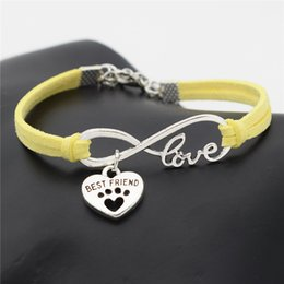 Best Christmas Gifts For Men Australia - Hot European Cheap Punk Fashion Vintage Infinity 8 Love Pets Dog Paw Best Friend Yellow Leather Bracelets For Women Gift Bangles Men Jewelry