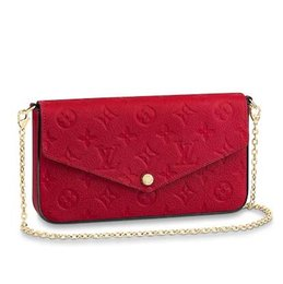korean bow bags 2018 - M63700 POCHETTE FÉLICIE Embossing rose red Real Caviar Lambskin Chain Flap Bag LONG CHAIN WALLETS KEY CARD HOLDERS PURSE