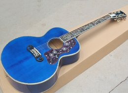 Top acousTic guiTars online shopping - quot top solid blue Everly acoustic guitar with Abalone inlay and binding Flame maple veneer Can add fishman pickups