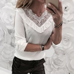 $enCountryForm.capitalKeyWord Canada - Ladies Casual V-Neck T-Shirt Solid Black White Pullover Tops Women Autumn Sexy Lace Long Sleeve Slim Top