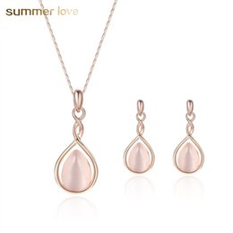Pendant Pink oPal online shopping - Newest Rose Gold Color Infinite Sweet Pink Opal Necklace Jewelry Set for Wedding Women Girls Natural Stone Bead Earring Choker