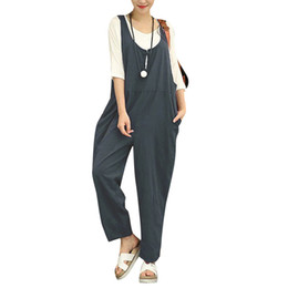 42c5b322992 Sexy Women Summer Cotton Linen Rompers Jumpsuits Vintage Sleeveless  Backless Overalls Strapless 5XL Plus Size Clothing Playsuit