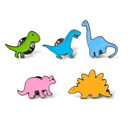Alloy jAcket online shopping - Pins Brooches Button Pins Geometry Denim Jacket Pin Badge Creative Cartoon plant clothing Jewelry Gift Different style colorful dinosaur