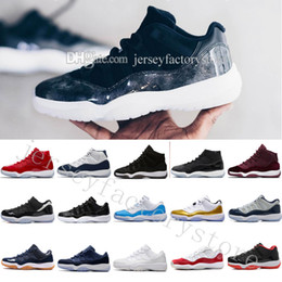 Cool Canvas Shoes High NZ - 2018 High Cheap NEW 11 Space Jam Bred Gamma Blue Basketball Shoes Men Women 11s Concords 72-10 Legend Blue Cool Grey Low Barons US 5.5-13
