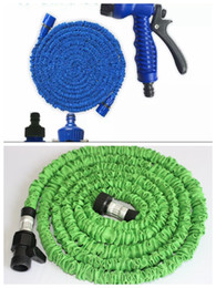 Discount expandable water hose - High Quality Green & Blue Hoses 50 FT Expandable Garden Water Hoses Flexible Hose With Spray Good Nozzle Head DHL Free s