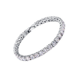 Chinese  Zircons Bridesmaids Luxury CZ Crystal Jewelry Brilliant 6mm Big Round Cut Cubic Zircon Tennis Bracelet For Women manufacturers
