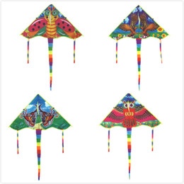 color bar products Australia - 50 Cm Color Bees Eagles Butterflies Owls Styles Medium Traditional Foldable Kite Wholesale Recreation Products Outdoor Kids Gift 10 Pcs