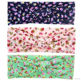 China Baby Floral Headbands Flower Print Bunny Ear Hairband Infant Turban Knot Headwear Kids Hair Accessories for girls KHA545 suppliers