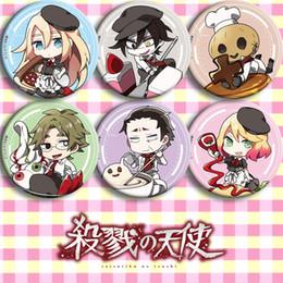 Jack Gifts Australia - Anime Cartoon Satsuriku No Tenshi Angels of Death Ray Zack Jack Pin Button Brooch Badges 6 Pcs Halloween Cosplay Badge Gift
