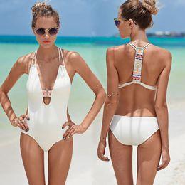 Black Bathers online shopping - Boho Black White Cross bodysuit Monokini Sexy Deep V One piece swimsuit Backless Swimwear Women Bathing suit Beachwear Bather