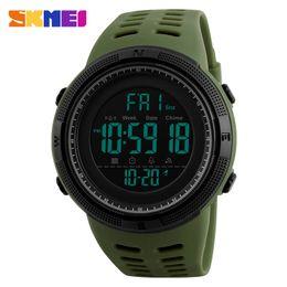 SKMEI Homens Cronógrafo Verde Relógios Silicone Contagem Regressiva LED Digital Sport Watch Men Relógios De Pulso saat reloj deportivo em Promoção