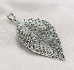 Stylish Pendants NZ - Vintage Elegant Magnificent Marcasite Big Leaf 925 Genuine Sterling Silver Pendant For Women Euramerican Stylish 2015 New