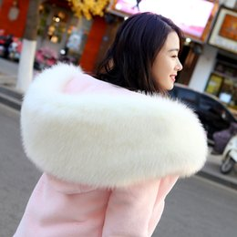 Wholesale coats hoods for women for sale - Group buy GTGYFF white pink large faux fake fur hooded hoodies jacket coat outerwear for women winter warm clothes jackets coats with hood