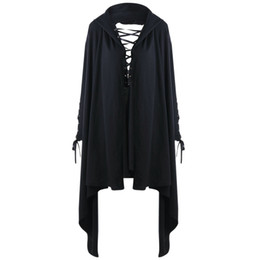 Vintage style hoodies online shopping - Women Solid Black Hoodies Lace Up Hollow Out Femme Sweatshirts Gothic Style Vintage Female Outwear Oversized Women Hoodies