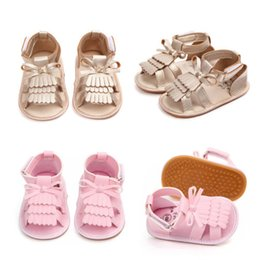 Sandals Infants NZ - 2018 Summer Baby Shoes Infant Baby Girl Lovely Summer Soft PU Sandals Tassels Bowknot Toddler Anti-Slip Shoes PU Leather 0-18M
