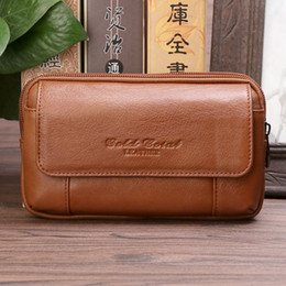 fbf856c8c955 GOLD CORAL Genuine Leather Male Small Fanny Pack Waist Belt Bag Fashion  Phone Pouch Wallet Purse Travel Waist Pack For Man 2018