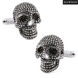 Luxury men gift online shopping - Skull Cufflinks Brand Luxury Black Enamel Men Cuff Links Luxury Jewelry Cufflinks pairs Gifts Brand Cuff Buttons Christmas Gift