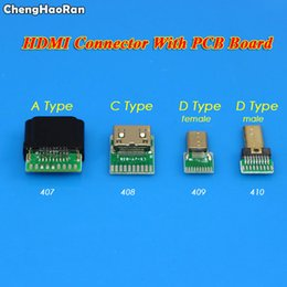 Hdmi sockets online shopping - ChengHaoRan Gold Plating HDMI Type A C D Standard Female Male Jack with PCB board Pin HDMI Socket With Plastic Shell