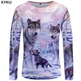 Mountains T Shirt NZ - KYKU Wolf T shirt Men Long sleeve shirt Love Streetwear Snow Graphic Mountain Clothes Jungle 3d T-shirt Hip hop Mens Clothing