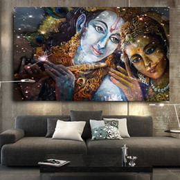 $enCountryForm.capitalKeyWord NZ - Handpainted & HD Print Religious Fantasy portrait Art oil painting Krishna And Radha Buddha,High Quality Wall Art On Canvas Home Deco p409