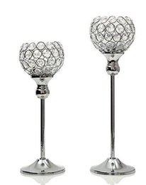 $enCountryForm.capitalKeyWord UK - metal silver plated candle holder with crystals. wedding candelabra centerpiece decoration,1 set=2 pcs candlestick