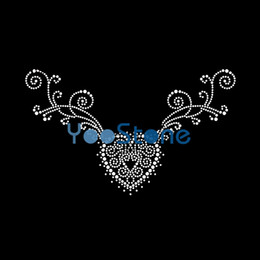 heart rhinestone transfer NZ - On Sale High Quality love heart neckline Rhinestone Iron On Transfers Hot Fix Motif 20pcs lot