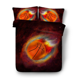 Chinese  JF556 HD digital basketball bed linen for boys teens children duvet covers 4pcs 3d galaxy sports bedding sets full queen size manufacturers