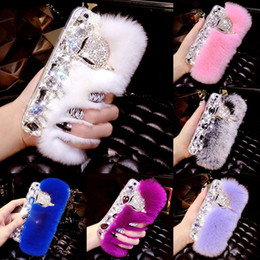 samsung rabbit case Canada - Rabbit Hair Fur Fox Head Bling TPU Case Soft Touch Warm Women Lady Cover For iPhone XS Max XR X 8 7 6 Plus Samsung Galaxy S10 E S9 S8 Note 9