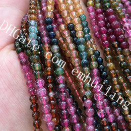 Multi Tourmaline Australia - 1 Full Strand Multi Color Natural Tourmaline Crystal Beads 3.5mm Small Gemstone Smooth Polished Round Beads Men Women Fine Jewerly DIY Beads