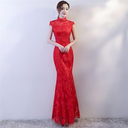 $enCountryForm.capitalKeyWord Australia - Shanghai Story chinese traditional dress Floral Embroidery Long mermaid Qipao For Women Lace cheongsam dress Oriental Dress