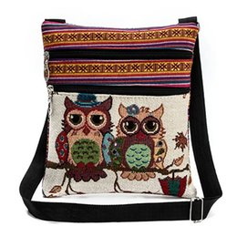 $enCountryForm.capitalKeyWord Canada - Animal Printing Women Messenger Bags Flap Bag Lady Canvas Cartoon Owl Jacquard Crossbody Shoulder Bags Small Female Handbags